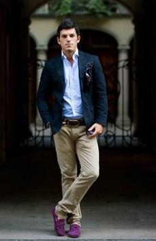 navy blue jacket with khaki pants
